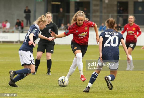 Charlie Devlin of Manchester United Women in action during the FA Women's Championship match between Manchester United Women and Millwall Lionesses...