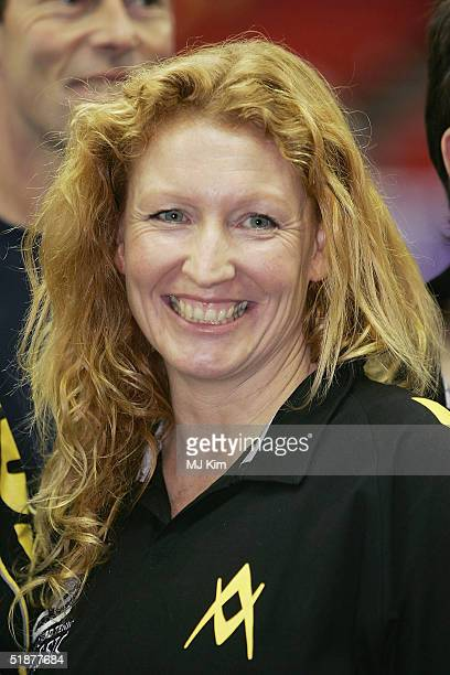 Charlie Dimmock poses at a photocall ahead of the Intelligent Finance Cliff Richard Tennis Classic at Birmingham National Indoor Arena on December 18...