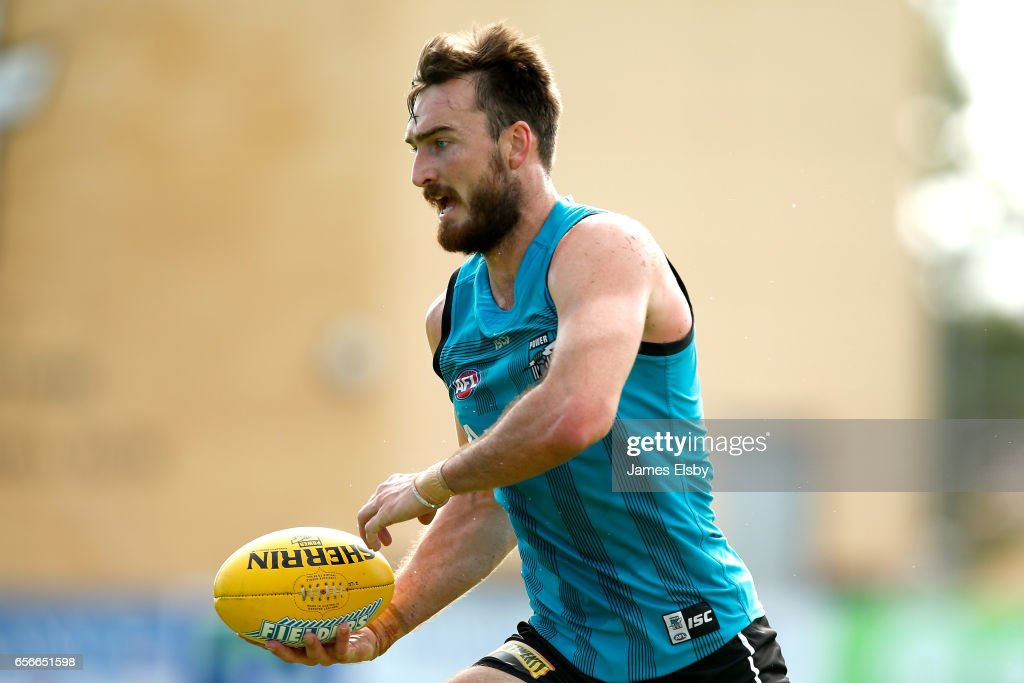 Charlie Dixon during a Port Power AFL Training Session at Alberton Oval on March 23, 2017 in Adelaide, Australia.
