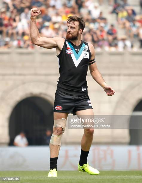 Charlie Dixon of the Power celebrates a goal during the 2017 AFL round 08 match between the Gold Coast Suns and Port Adelaide Power at Jiangwan...
