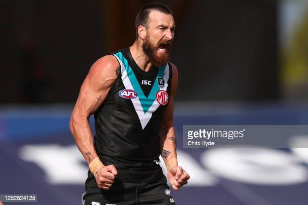 Charlie Dixon of the Power celebrates a goal during the round 4 AFL match between the Port Adelaide Power and the West Coast Eagles at Metricon...
