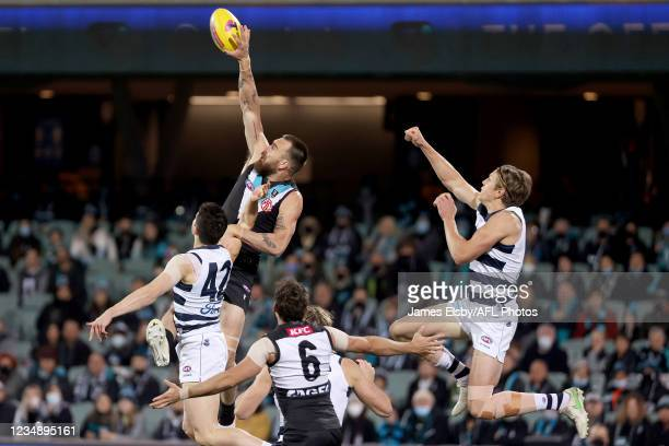 Charlie Dixon of the Power competes with Rhys Stanley of the Cats during the 2021 AFL Round 23 match between the Adelaide Crows and the North...