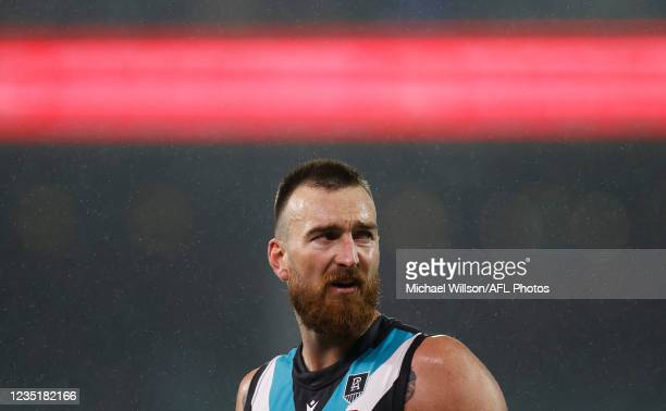 Charlie Dixon of the Power looks on during the 2021 AFL Second Preliminary Final match between the Port Adelaide Power and the Western Bulldogs at...