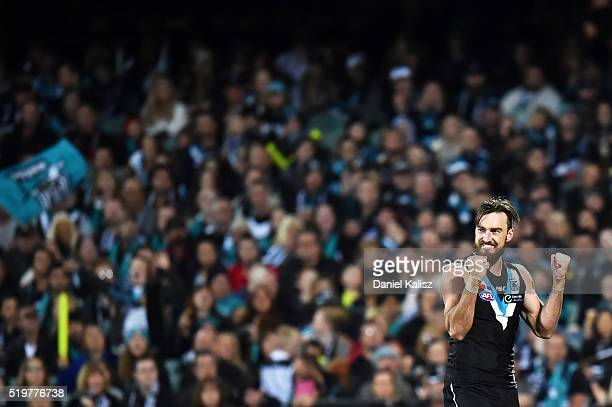 Charlie Dixon of the Power reacts after kicking a goal during the round three AFL match between the Port Adelaide Power and the Essendon Bombers at...