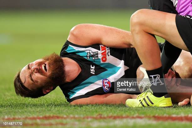 Charlie Dixon of the Power reacts as he is attended to by a trainer after falling awkwardly during the round 21 AFL match between the Port Adelaide...