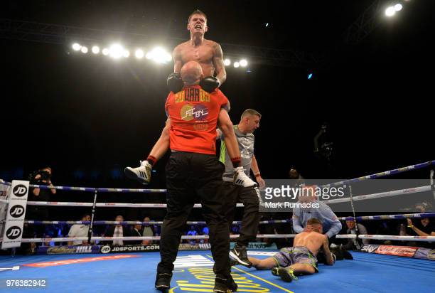 Charlie Edwards reacts as he beats Anthony Nelson by a knock out in the third round during the WBA Continental SuperFlyweight Championship contest...