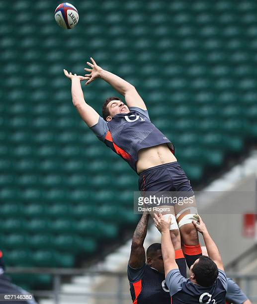 Charlie Ewels attempts to gather the ball during the England captain's run at Twickenham Stadium on December 2 2016 in London England
