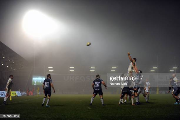 Charlie Ewels of Bath catches the ball from a line out during the Aviva Premiership match between Sale Sharks and Bath Rugby at AJ Bell Stadium on...
