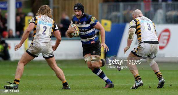 Charlie Ewels of Bath runs with the ball during the Aviva Premiership match between Bath and Wasps at the Recreation Ground on March 4 2017 in Bath...