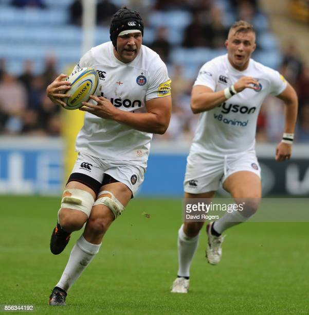 Charlie Ewels of Bath runs with the ball during the Aviva Premiership match between Wasps and Bath Rugby at The Ricoh Arena on October 1 2017 in...