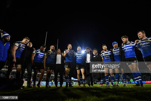 Charlie Ewels of Bath talks to his team mates following his side's victory during the Gallagher Premiership Rugby match between Bath Rugby and...