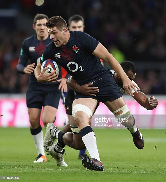 Charlie Ewels of England breaks with the ball during the Old Mutual Wealth international series match between England and Fiji at Twickenham Stadium...