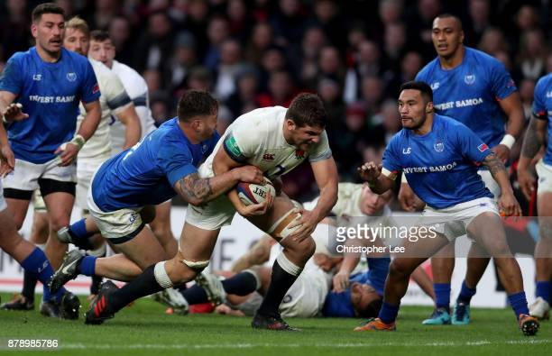 Charlie Ewels of England on the way to scoring his sides third try during the Old Mutual Wealth Series match between England and Samoa at Twickenham...
