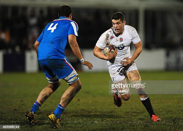 Charlie Ewels of England takes on Ugo D'Onofrio of Italy during the U20s Six Nations match between England U20 and Italy U20 at Brickfields on...