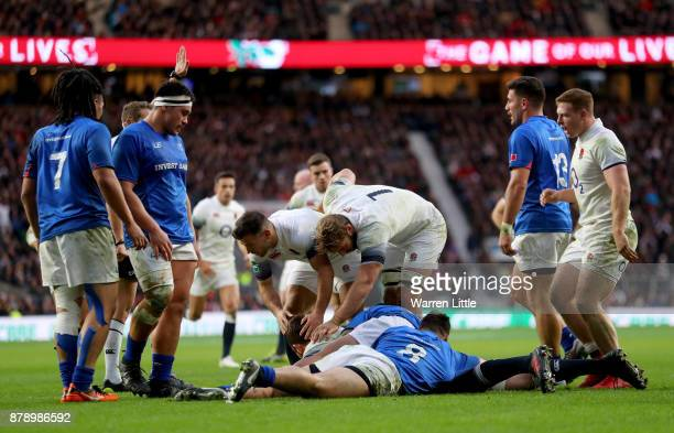 Charlie Ewels of England touches downn for the third try during the Old Mutual Wealth Series match between England and Samoa at Twickenham Stadium on...