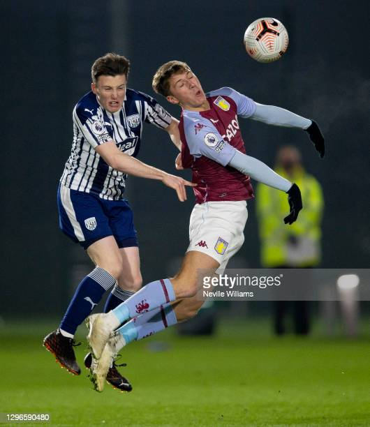 Charlie Farr of Aston Villa in action during the Premier League 2 between Aston Villa abd West Bromwich Albion at Bodymoor Heath training ground on...
