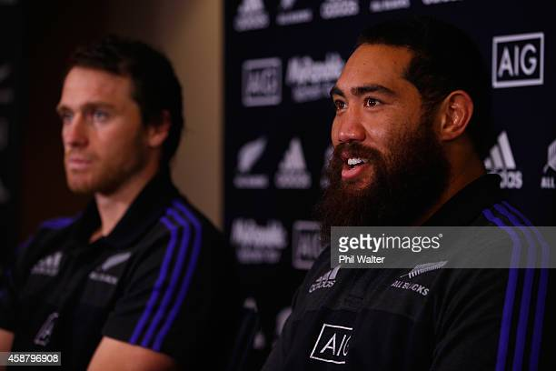 Charlie Faumuina of the All Blacks speaks during a New Zealand All Blacks media conference at The Radisson Blu Hotel on November 11 2014 in Edinburgh...