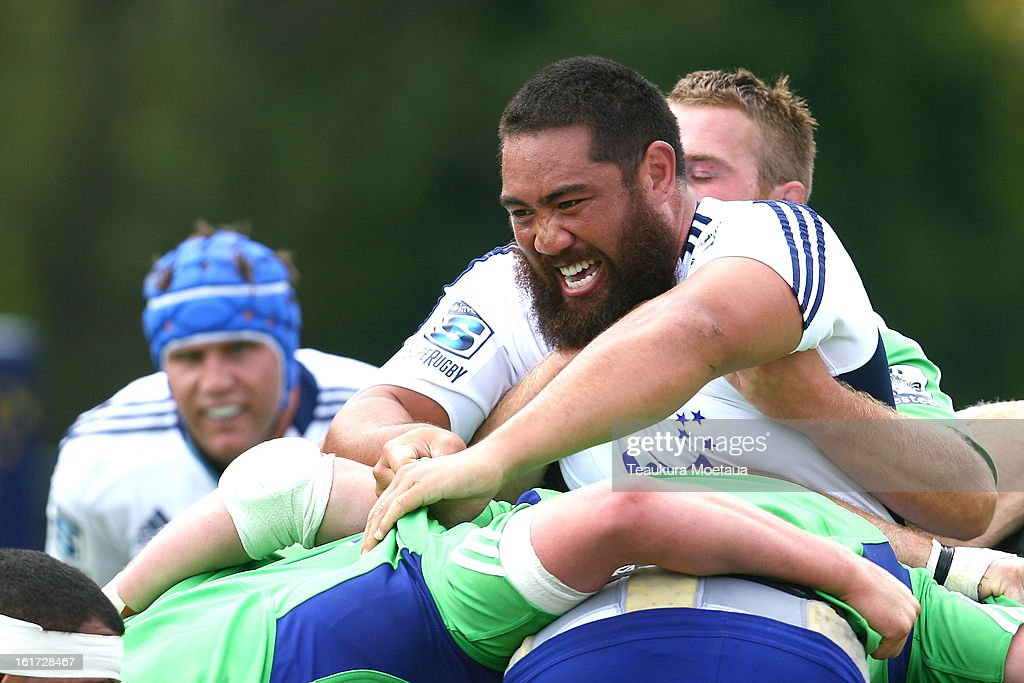 Charlie Faumuina of the Blues looks on during the Super Rugby trial match between the Highlanders and the Blues at the Queenstown Recreation Ground on February 15, 2013 in Queenstown, New Zealand.