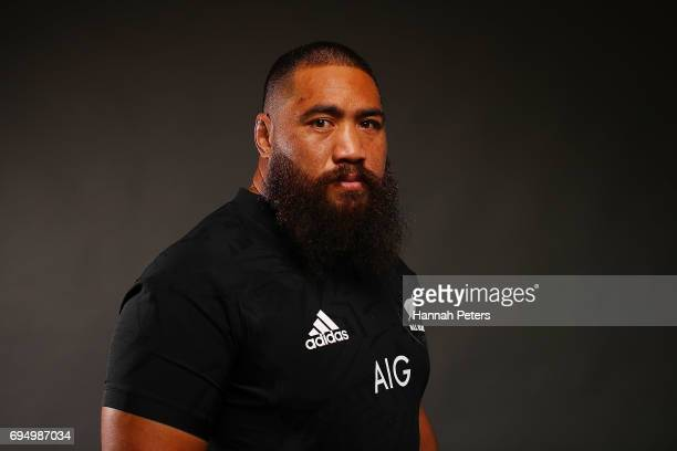 Charlie Faumuina poses for a portrait during the New Zealand All Blacks Headshots Session on June 11 2017 in Auckland New Zealand