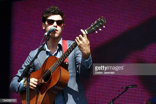 Charlie Fink of Noah and the whale performs at Get Loaded in the Park at Clapham Common on August 24 2008 in London England
