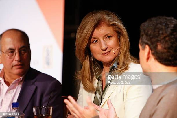 Charlie Firestone Arianna Huffington and Strauss Zelnick attend the session 'Is Social Media Transforming Journalism' on Day 2 of Aspen Ideas...