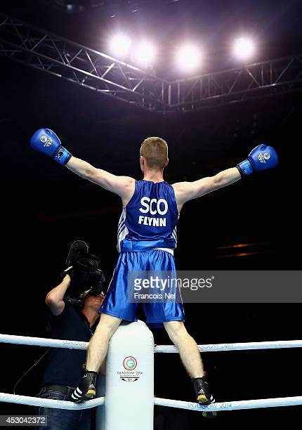 Charlie Flynn of Scotland celebrates after winning the Men's Light 60kg SemiFinals Boxing at Scottish Exhibition And Conference Centre during day...