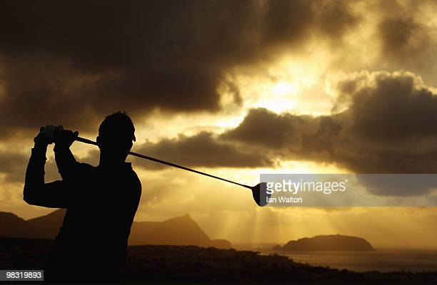 Charlie Ford of England in action on the first tee during the first round of the Madeira Islands Open at the Porto Santo golf club on April 8 2010 in...