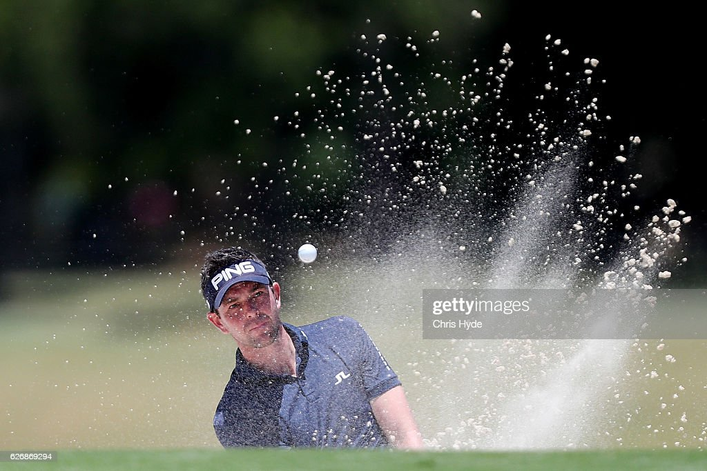 Charlie Ford of England plays from the bunker during day one of the 2016 Australian PGA Championship at RACV Royal Pines Resort on December 1, 2016 in Gold Coast, Australia.