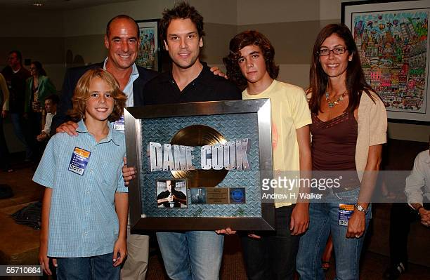 Charlie Fox Tony Fox comedian Dane Cook Patrick Fox and Andi Fox celebrate Dane Cook's gold record at the Madison Square Garden Theater on September...