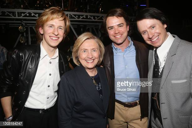 """Charlie Franklin, Hillary Clinton, Ross Lekites and Steven Booth pose backstage at the hit musical """"TINA – The Tina Turner Musical"""" on Broadway at..."""