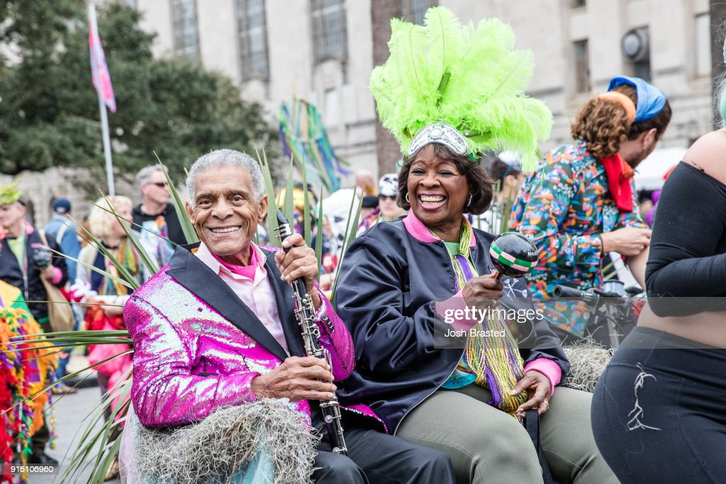 Charlie Gabriel (L) of Preservation Hall Jazz Band and Irma Thomas (R) reign as King and Queen of the inaugural Krewe Du Kanaval on February 6, 2018 in New Orleans, Louisiana.