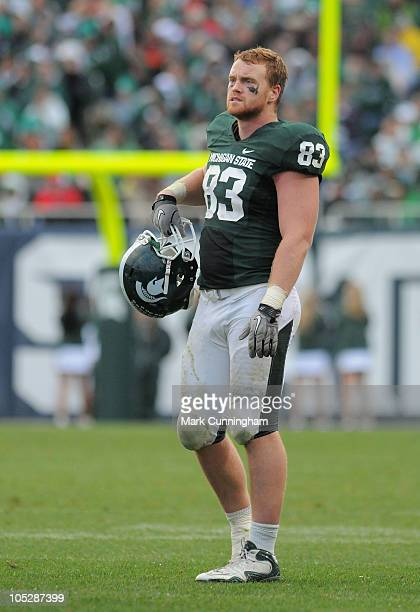 Charlie Gantt of the Michigan State Spartans looks on against the Wisconsin Badgers during the game at Spartan Stadium on October 2, 2010 in East...