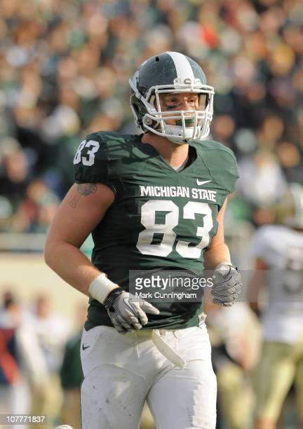 Charlie Gantt of the Michigan State Spartans looks on against the Purdue Boilermakers during the game at Spartan Stadium on November 20, 2010 in East...