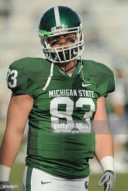 Charlie Gantt of the Michigan State Spartans looks on against the Western Michigan Broncos at Spartan Stadium on November 7, 2009 in East Lansing,...