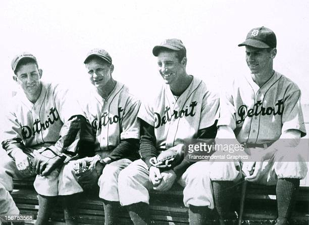 Charlie Gehringer Billy Rogell Hank Greenberg and Marv Owen of the Detroit Tiger infield is represented in this photo made circa 1935 in Detroit...