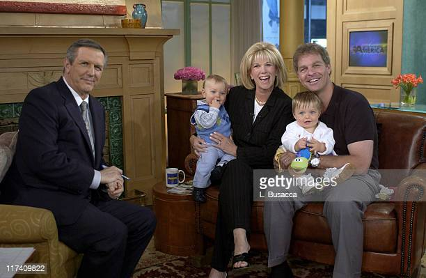 Charlie Gibson of Good Morning America interviews Joan Lunden and Jeff Konigsberg with their children Max and Kate Konigsberg