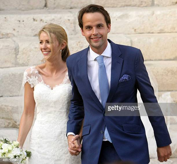 Charlie Gilkes a British nightclub owner and Anneke von Trotha Taylor smile at the end of their wedding at Carlo V Castle of Monopoli on September 19...