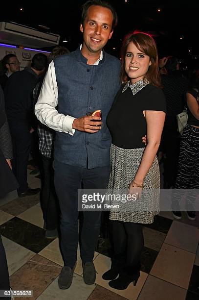 Charlie Gilkes and Princess Eugenie of York attend the launch of Bunga Bunga in Covent Garden on January 12 2017 in London England