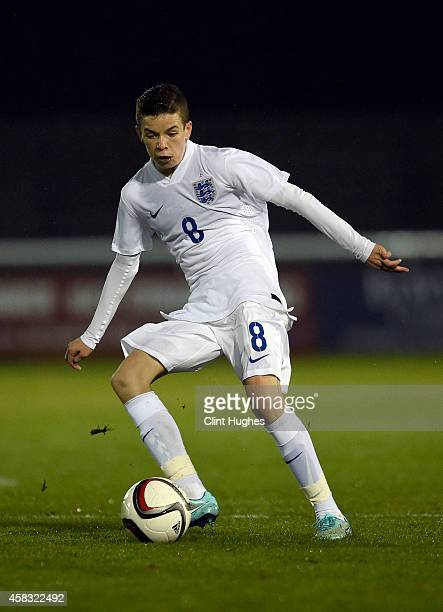 Charlie Gilmour of England U16 in action during the Victory Shield match between Wales U16 and England U16 at the Book People Stadium on October 31...