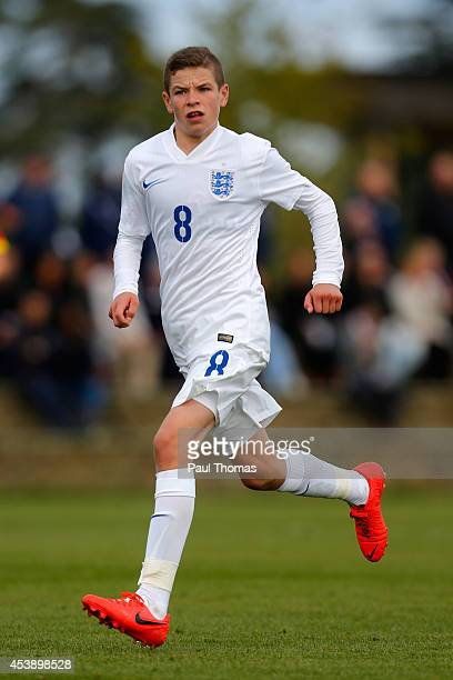 Charlie Gilmour of England U16's in action during the International U16 fixture between England and Belgium at St George's Park on August 20 2014 in...