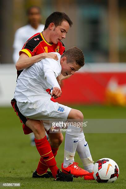 Charlie Gilmour of England U16's in action with Jerome Deom of Belgium U16's during the International U16 fixture between England and Belgium at St...