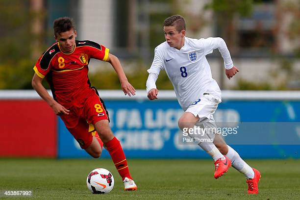 Charlie Gilmour of England U16's in action with Paolo Sabak of Belgium U16's during the International U16 fixture between England and Belgium at St...