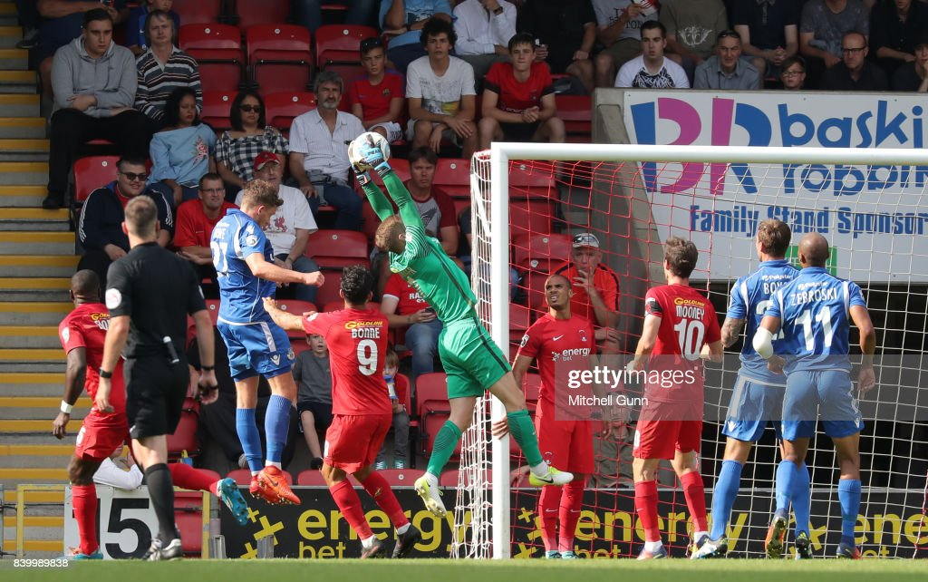 Charlie Grainger of Leyton Orient catches the ball during the National League match between Leyton Orient and Eastleigh at The Matchroom Stadium on August 26, 2017 in London, United Kingdom.