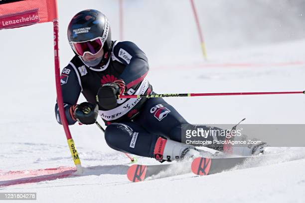 Charlie Guest of Great Britain in action during the Audi FIS Alpine Ski World Cup Team Parallel Slalom on March 19, 2021 in Lenzerheide, Switzerland.