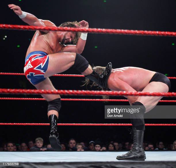 Charlie Haas and Snitzky in action during the WWE RAW Summerslam event at the Acer Arena Homebush Stadium in Sydney Australia on August 4 2006