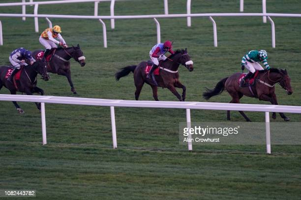 Charlie Hammond riding Aaron Lad win The Citipost Handicap Hurdle Race at Cheltenham Racecourse on December 14 2018 in Cheltenham England