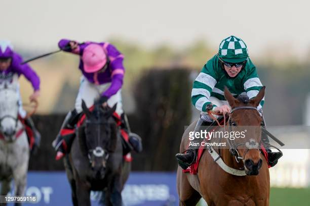 Charlie Hammond riding Enqarde clear the last to win The Matchbook Best Odds Handicap Chase at Ascot Racecourse on January 23, 2021 in Ascot,...