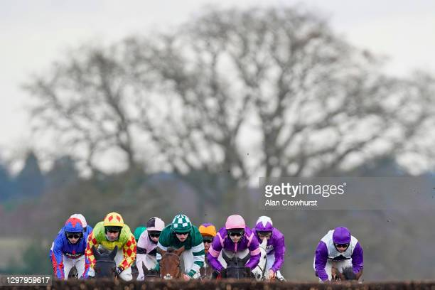 Charlie Hammond riding Enqarde on their way to winning The Matchbook Best Odds Handicap Chase at Ascot Racecourse on January 23, 2021 in Ascot,...