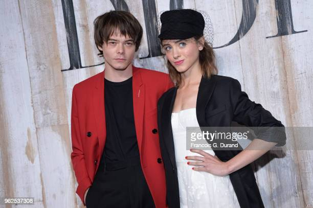 Charlie Heaton and Natalia Dyer attend the Christian Dior Couture S/S19 Cruise Collection Photocall At Grandes Ecuries De Chantillyon May 25 2018 in...
