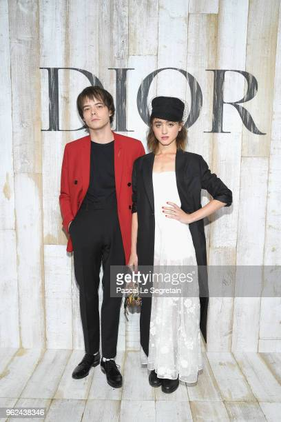 Charlie Heaton and Natalia Dyer pose at a photocall during Christian Dior Couture S/S19 Cruise Collection on May 25 2018 in Chantilly France